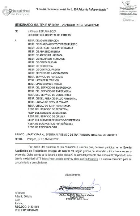PARTICIPAR AL EVENTO ACADEMICO DE TRATAMIENTO INTEGRAL DE COVID-19