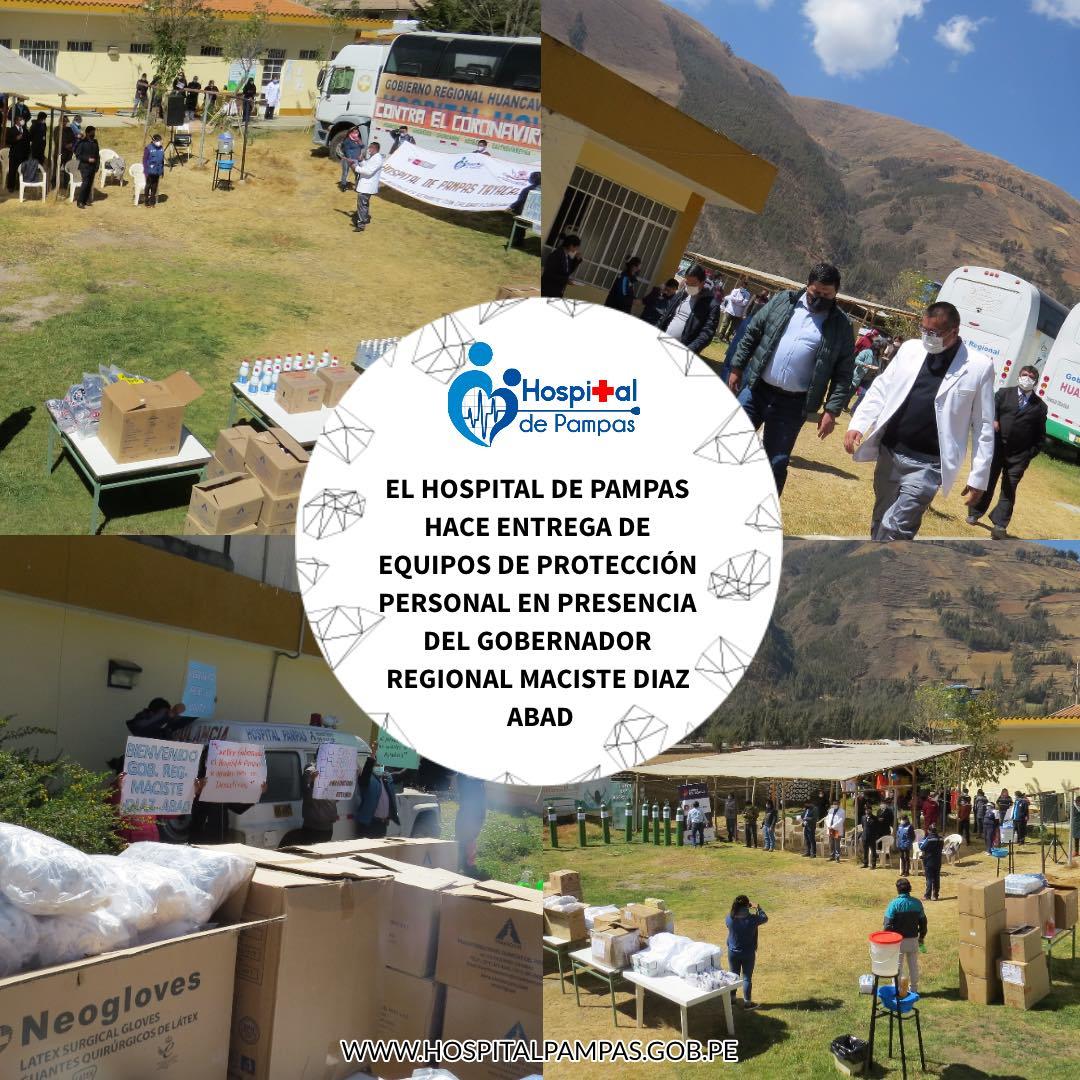 HOSPITAL DE PAMPAS HACE ENTREGA DE EQUIPOS DE PROTECCIÓN PERSONAL EN PRESENCIA DEL GOBERNADOR REGIONAL MACISTE DIAZ ABAD